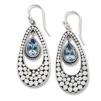 Samuel B Sterling Silver & Blue Topaz Balinese Dot Earrings