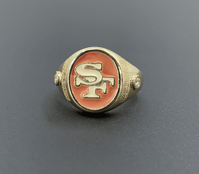 San Francisco 49'ers Gold and Diamond Enameled Ring
