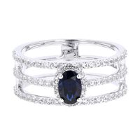 10k White Gold Diamond & Sapphire Three Row Ring