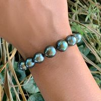 18k White Gold & South Sea Black Pearl Bracelet