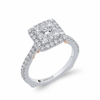 Square Shaped Halo Cluster Engagment Ring