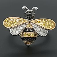 Sterling Silver Bumble Bee Ring with Black, White & Yellow Diamonds