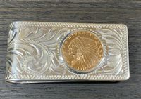 Sterling Silver Hand Engraved $2.50 Indian Head Gold Coin Moneyclip