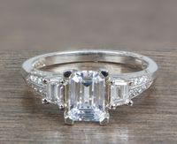 Tacori Platinum and Emerald Cut Diamond Engagement Ring