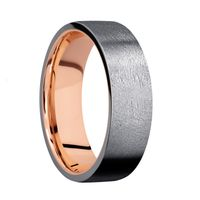 Tantalum 7mm Flat Band with Distressed Finish with 14K Rose Gold Sleeve