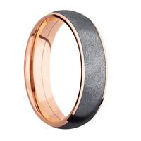 Tantalum and 14K Rose Gold Domed Wedding Band