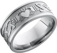 Titanium Laser Carved Claddagh Celtic Band by Lashbrook Designs