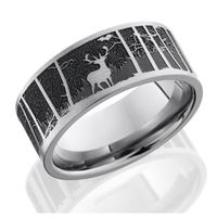 Titanium Laser-Carved Elk Mountain Band by Lashbrook Designs