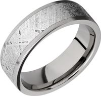 Titanium and Gibeon Meteorite Sandblast Band by Lashbrook Designs