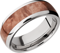 Titanium and Maple Burl Hardwood band by Lashbrook Design