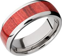 Titanium and Red Heart Wood Band by Lashbrook Designs