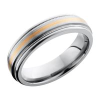 Titanium Band with 14K Rose Gold Inlay  by Lashbrook Designs