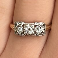 Two-Tone Three-Stone Engagement Ring