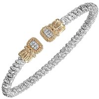 14k Yellow Gold & Sterling Silver Diamond & Moir� Beading Bangle by Alwand Vahan