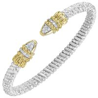 14k Yellow Gold & Sterling silver .14ctw Diamond Bangle by Alwand Vahan
