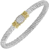 14k Yellow Gold, Sterling Silver & Diamond Pave Bangle by Alwand Vahan