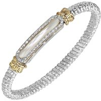 Sterling Silver, Yellow Gold, Diamond & Mother of Pearl Bangle by Alwand Vahan