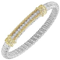 14k Yellow Gold, Sterling Silver & Diamond Row, Moire Beading Bangle Bracelet by Alwand Vahan