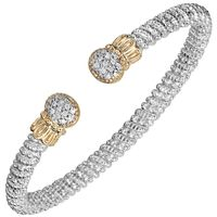 14k Yellow Gold & Sterling Silver, Diamond Oval Pave End Bracelet by Alwand Vahan