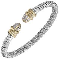 14k Yellow Gold & Sterling Silver Diamond Shell Tip Bangle Bracelet by Alwand Vahan