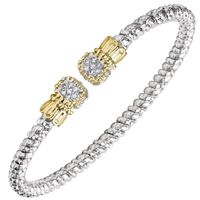14k Yellow Gold & Sterling Silver Diamond End Bangle Bracelet by Alwand Vahan