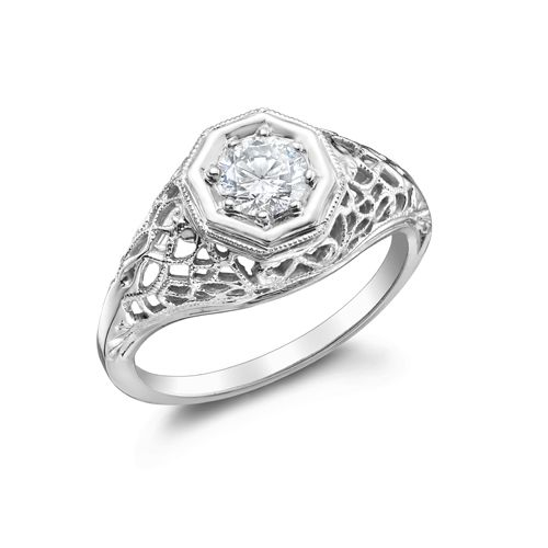 VICTORIA - 14K White Gold and Diamond Vintage Engagement Ring