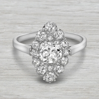 Vintage Platinum, Old Mine Cut Diamond Navette Ring