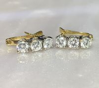 Vintage 3 Stone Diamond Earrings