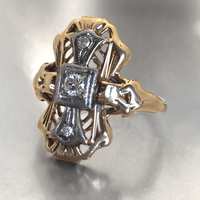 Vintage 14K Yellow Gold & Diamond Filigree Ring