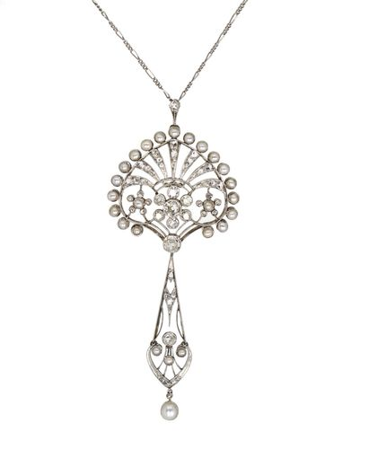 Vintage Platinum and Diamond Edwardian Necklace
