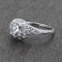 Madeline - Vintage Platinum and Diamond Filigree Engagement Ring