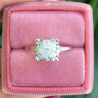 Colette - Vintage 18k White Gold & Diamond Cluster Ring
