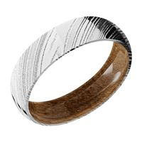 6MM Woodgrain Damascus Band with Whiskey Barrel Wood Sleeve Band by Lashbrook Designs