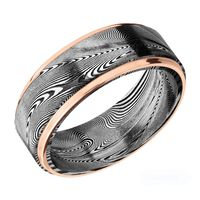 8mm Tightweave Damascus Steel & 14k Rose Gold Men's Band by Lashbrook Designs