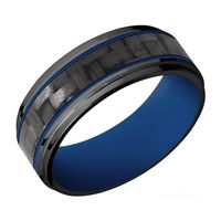 8mm Step Edge Black Zirconium, Carbon Fiber & Royal Blue Cerakote Detailed Band by Lashbrook Designs