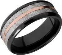 Zirconium, Rose gold and Gibeon Meteorite Band by Lashbrook Designs
