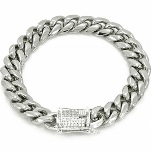 """12mm 8.5"""" Cuban Link Bracelet 14k White Gold Plated Stainless Steel  925 Silver 1ct Lab Diamond Clasp"""