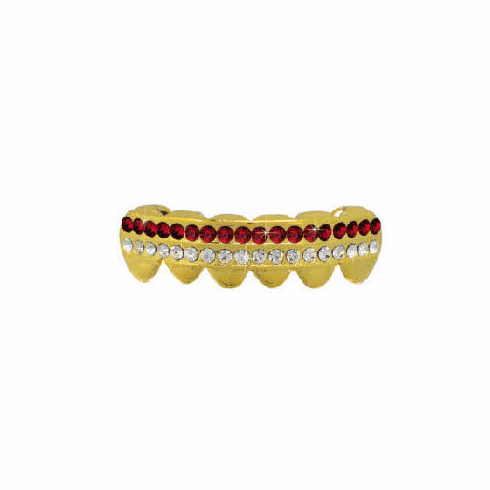 14K Gold GP Lower Grillz (2 Row) Red
