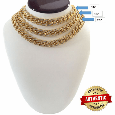 """14K Gold GP Migos YRN Cuban Iced Out CZ Clasp Choker Chain Necklace 16"""""""