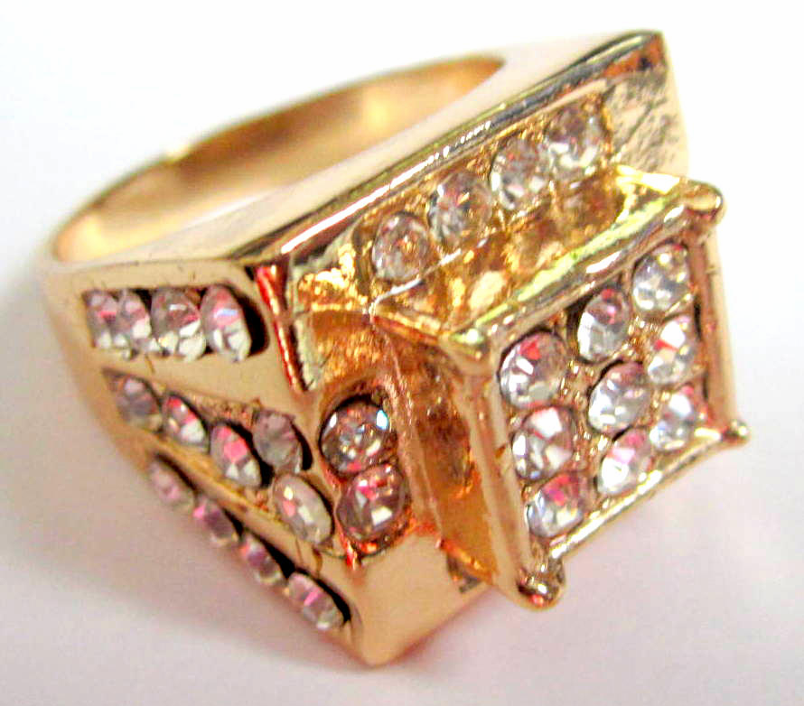 Gold Cluster Iced Hip Hop Ring