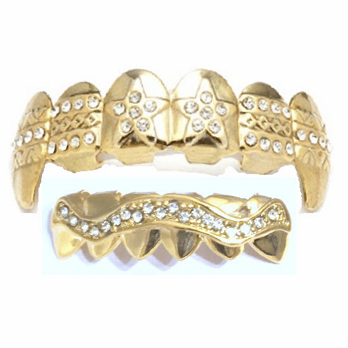 Gold Fangs Mouth Grillz Set - 14K Gold Plated