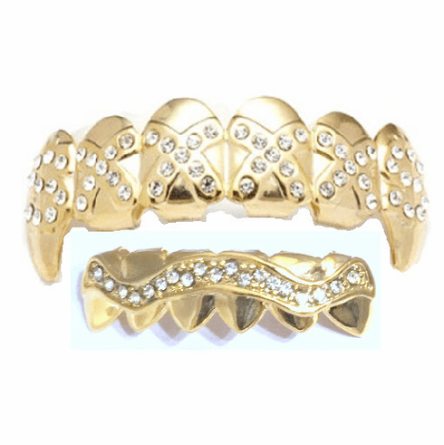 Gold Fangs Mouth Grillz Set 14K Gold Plated