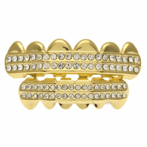 Gold Grillz Set Rows of Bling