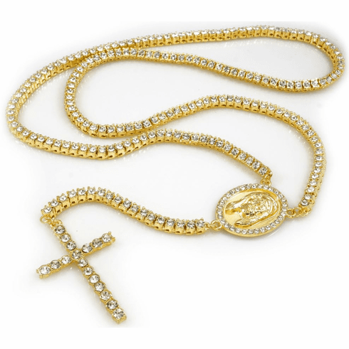 """Gold Iced Out Hip Hop 1 Row Jesus Cross Rosary Necklace (36"""")"""