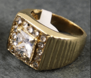"""Gold Iced Out Hip Hop Ring """"Princess Cut"""""""
