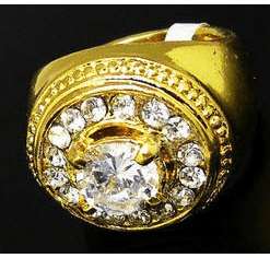 """Gold Iced Out Hip Hop Ring """"Solitaire Cut"""""""