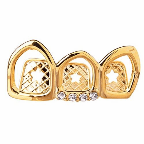 Gold Open Face Grillz Covers 3 Teeth