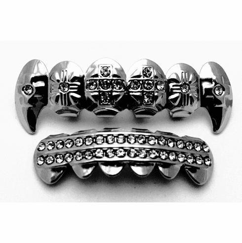 Hematite Cross Fang Grillz Iced - Clear Stones