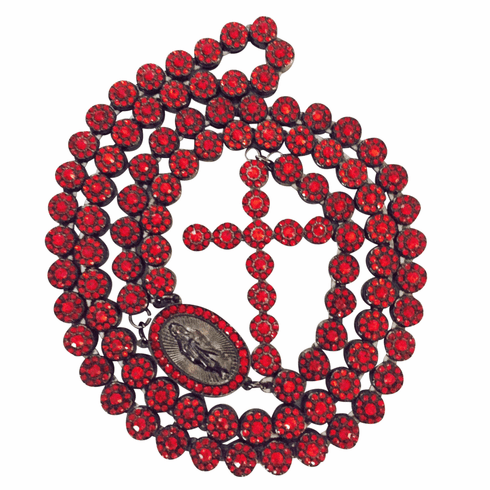 """Hip Hop Iced Out CZ Black Finish Sunflower Cluster 8mm Rosary Necklace 36"""" (Red Ruby)"""