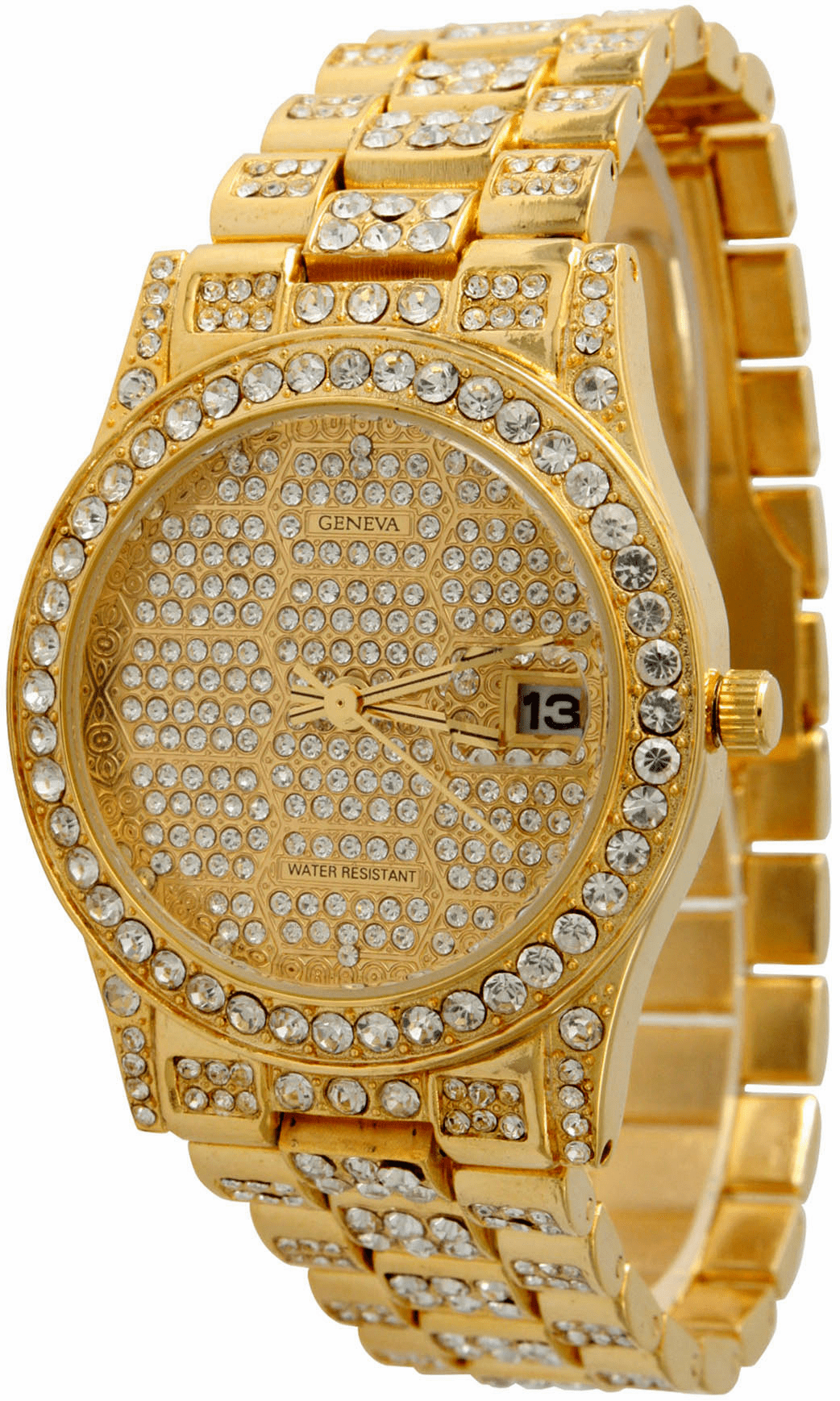 Iced Out Hip Hop Gold Geneva Watch Style 2
